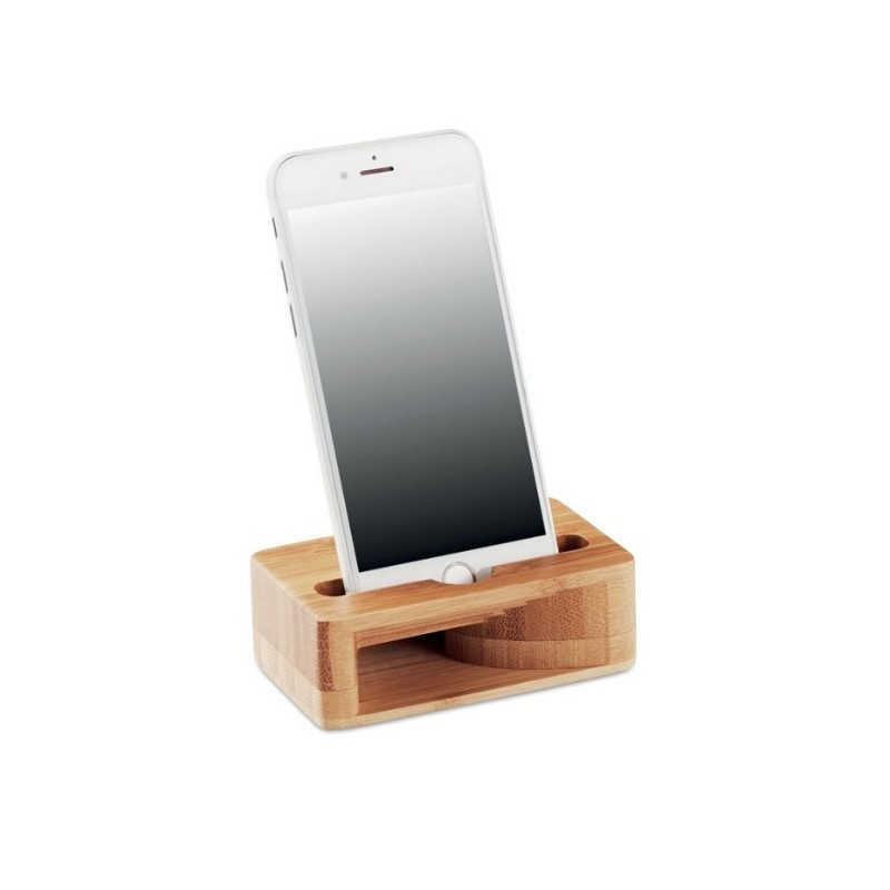 Bambusowy stojak z wzmacniaczem dźwięku na telefon