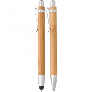 Zestaw piśmienny, bambusowy długopis touch pen i ołówek mechaniczny