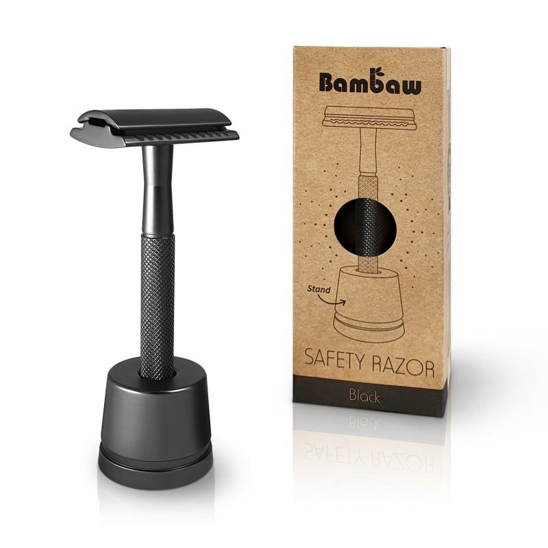 Wielorazowa maszynka do golenia + żyletka i stojak, CZARNA, Bambaw