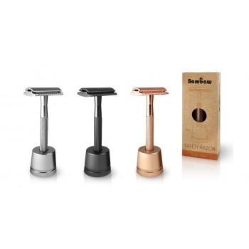 Wielorazowa maszynka do golenia + żyletka i stojak
