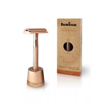 Wielorazowa maszynka do golenia + żyletka i stojak, złoty róż, Bambaw