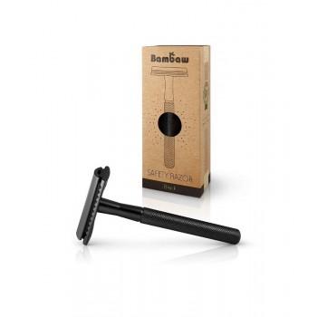 Wielorazowa maszynka do golenia + żyletka, czarna, Bambaw