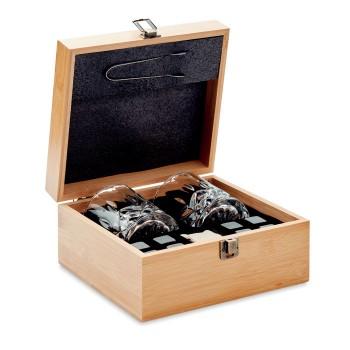 Elegancki zestaw do whisky w bambusowym pudełku
