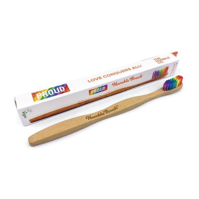 bambusowa szczoteczka do zębów z miękkim tęczowym włosów