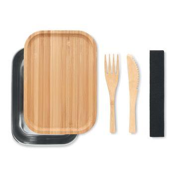 Lunchbox Savana ze stali i bambusa