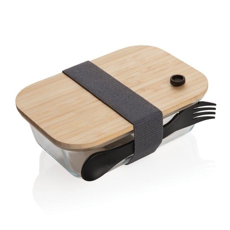 Szklany Lunchbox z bambusową pokrywką
