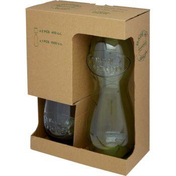 zapakowany 3-częściowy zestaw szkła z recyclingu