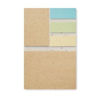 Notes z papieru z trawy z nasionami kwiatów