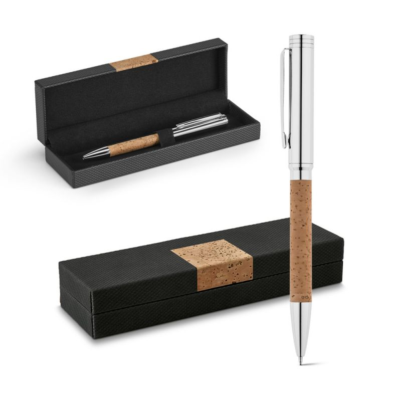 Korkowo-metalowy długopis w etui