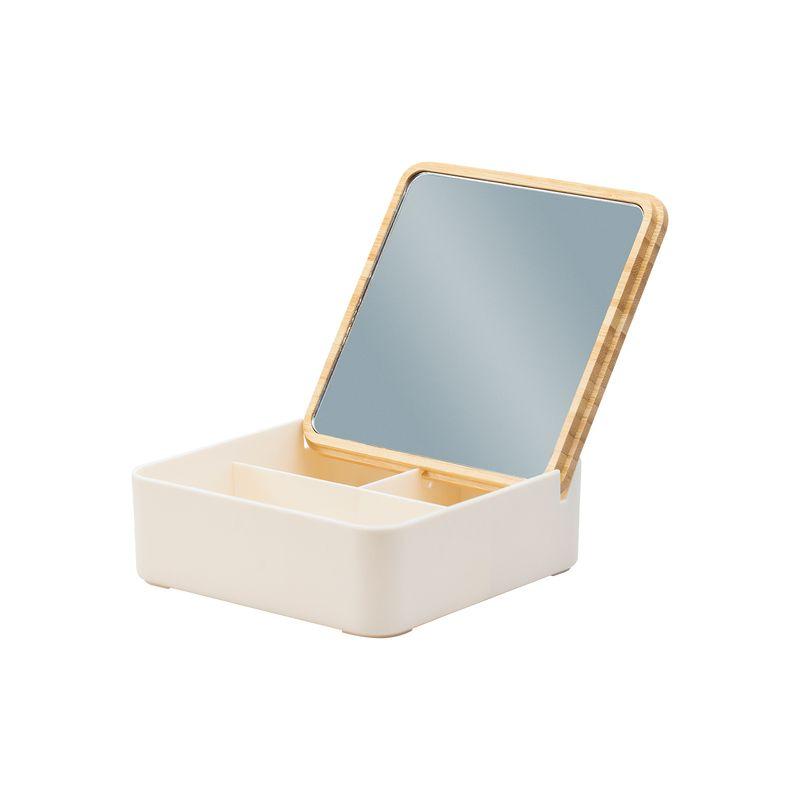 Pudełko z bambusową pokrywką i dużym lusterkiem