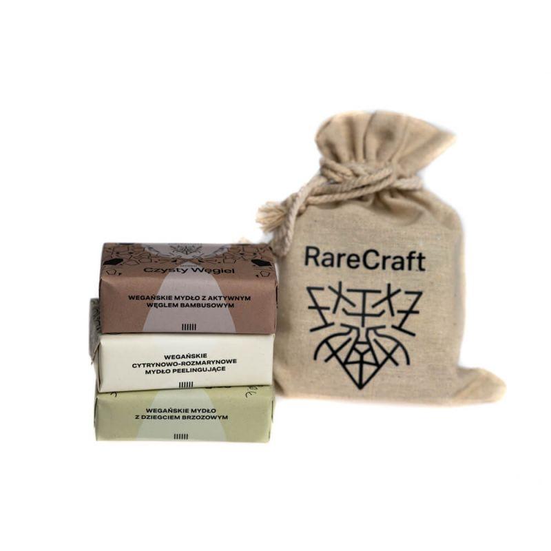 Zestaw trzech mydeł oczyszczających w lnianym worku 3x110g RareCraft