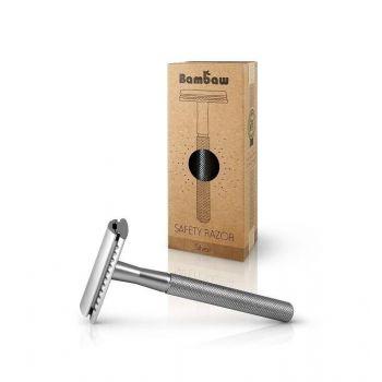Wielorazowa maszynka do golenia + żyletka, srebrna, Bambaw