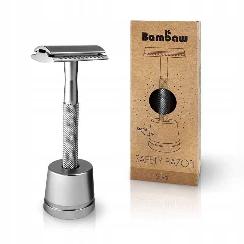 Wielorazowa maszynka do golenia + żyletka i stojak, SREBRNA, Bambaw