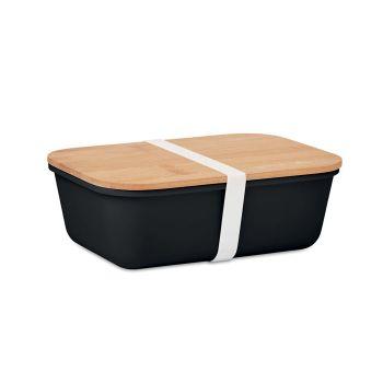 Pudełko na lunch lub kanapki wykonane z PP z bambusową pokrywką.