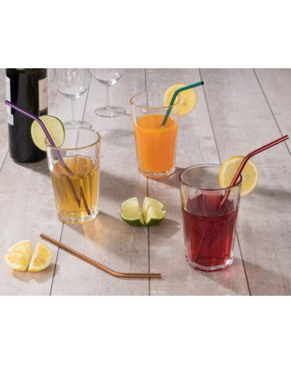 Stalowe kolorowe słomki do picia w etui
