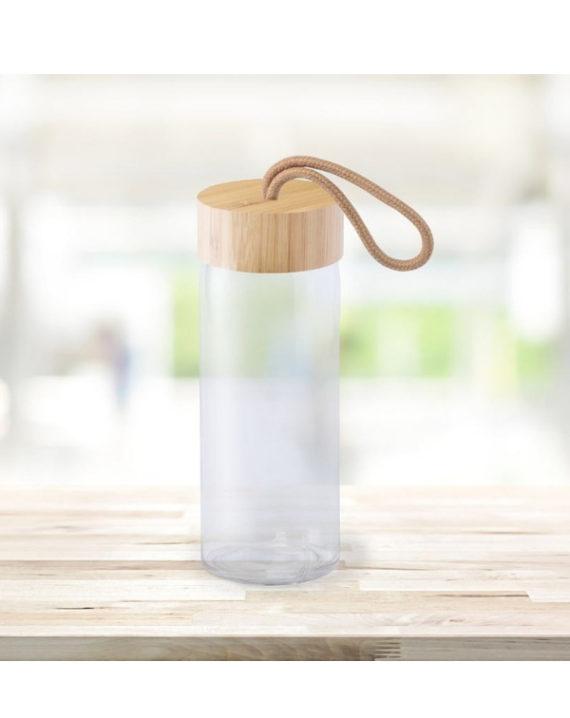 Szklana Butelka z bambusowym wieczkiem 420ml