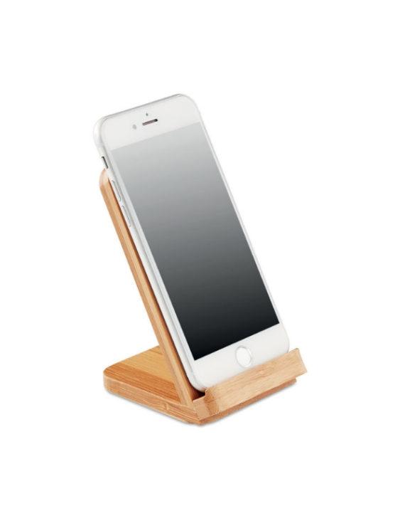 Bambusowa ładowarka i stojak na telefon
